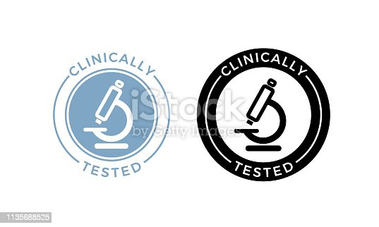 Microscope clinically tested vector icon. Medically approved product health safe certificate microscope label seal