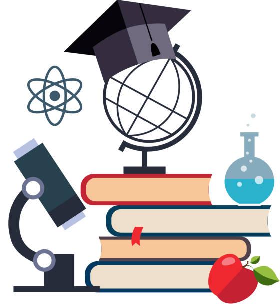 stockillustraties, clipart, cartoons en iconen met microscoop, globe en afstuderen dop op een stapel boeken, onderwijs en wetenschap vector illustratie - physics