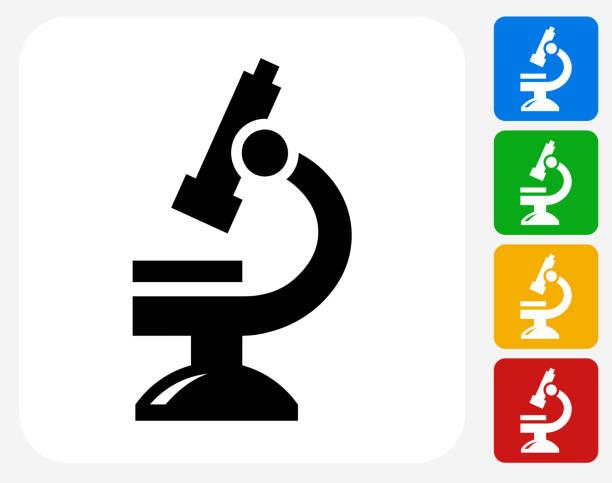 bildbanksillustrationer, clip art samt tecknat material och ikoner med microscope icon flat graphic design - microscope