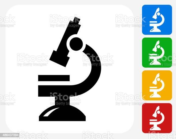 Microscope Icon Flat Graphic Design Stockvectorkunst en meer beelden van 2015