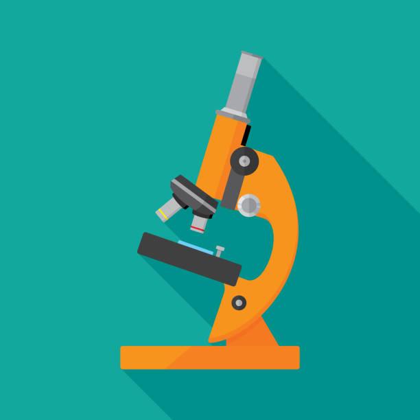 bildbanksillustrationer, clip art samt tecknat material och ikoner med mikroskop ikon platta - microscope