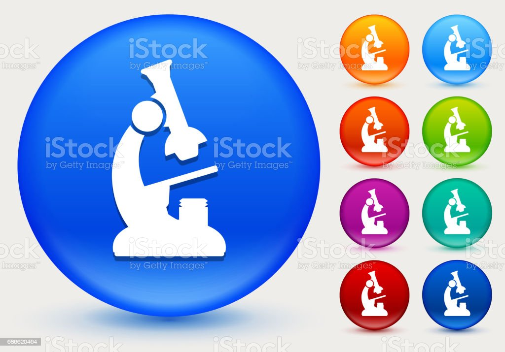 Microscope Icon on Shiny Color Circle Buttons royalty-free microscope icon on shiny color circle buttons stock vector art & more images of circle