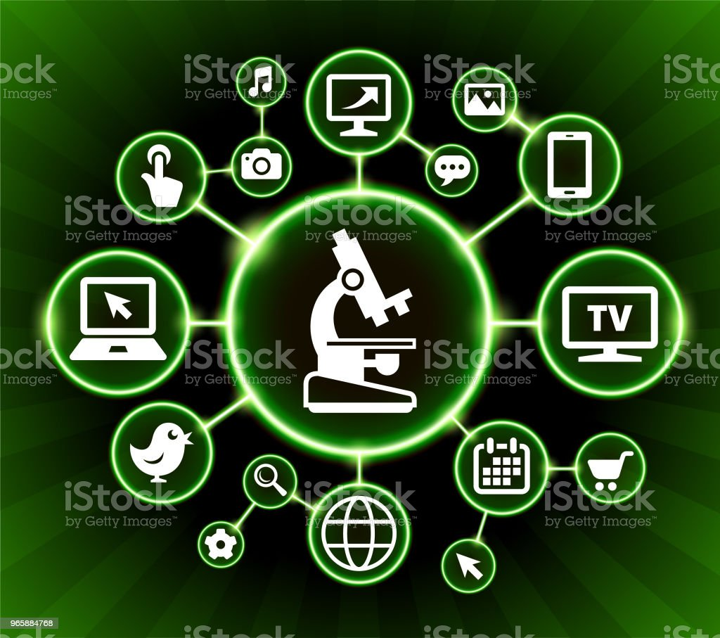 Microscoop Internet communicatie technologie donkere knoppen achtergrond - Royalty-free Achtergrond - Thema vectorkunst