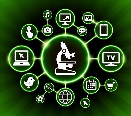 Microscoop Internet Communicatie Technologie Donkere Knoppen Achtergrond Stockvectorkunst en meer beelden van Achtergrond - Thema