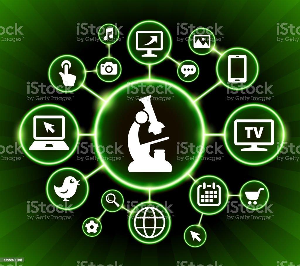 Microscope Internet Communication Technology Dark Buttons Background - Royalty-free Arrow Symbol stock vector