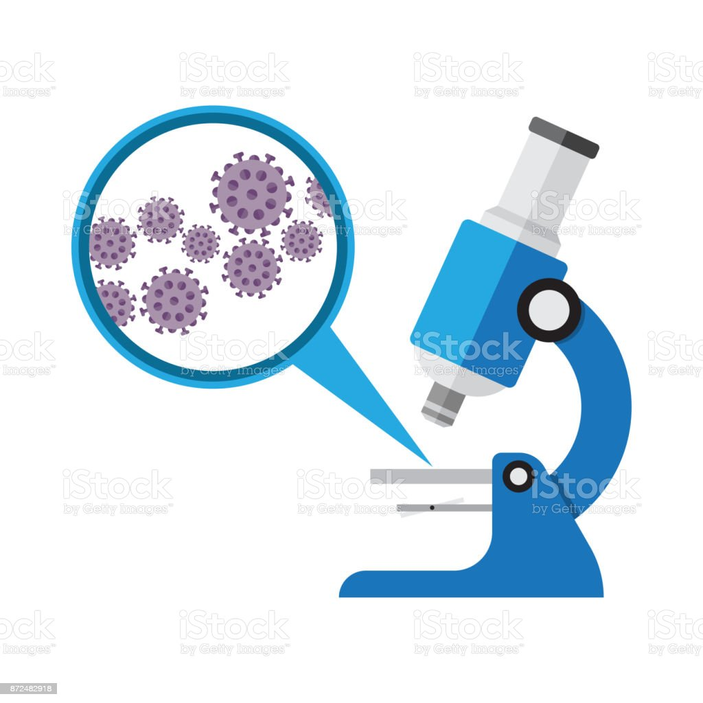Microscope. Laboratory equipment, research with microbes in microscope vector art illustration