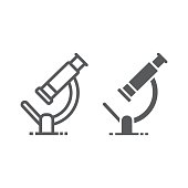 Microscope line and glyph icon, science and biology, research sign vector graphics, a linear pattern on a white background, eps 10.