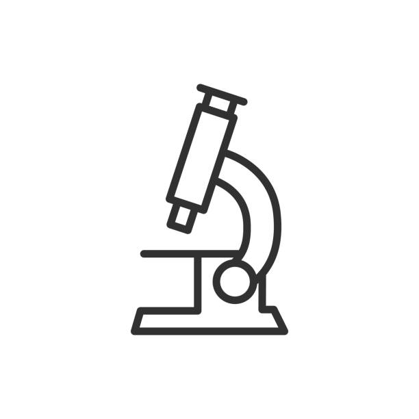 Microscope. Line with editable stroke Microscope science icons stock illustrations