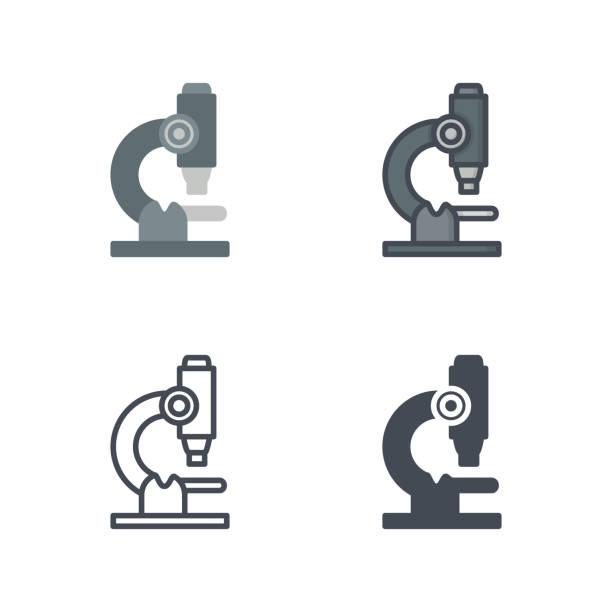 bildbanksillustrationer, clip art samt tecknat material och ikoner med mikroskopet medicin vektor platt linje siluett färgade ikonen - microscope