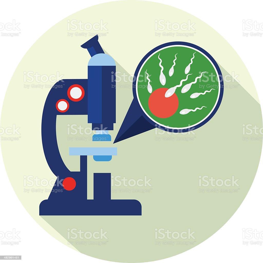 Microscope - Ovum and spermatozoon - Fertilization vector art illustration