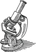 Hand-drawn vector drawing of a Microscope. Black-and-White sketch on a transparent background (.eps-file). Included files are EPS (v10) and Hi-Res JPG.