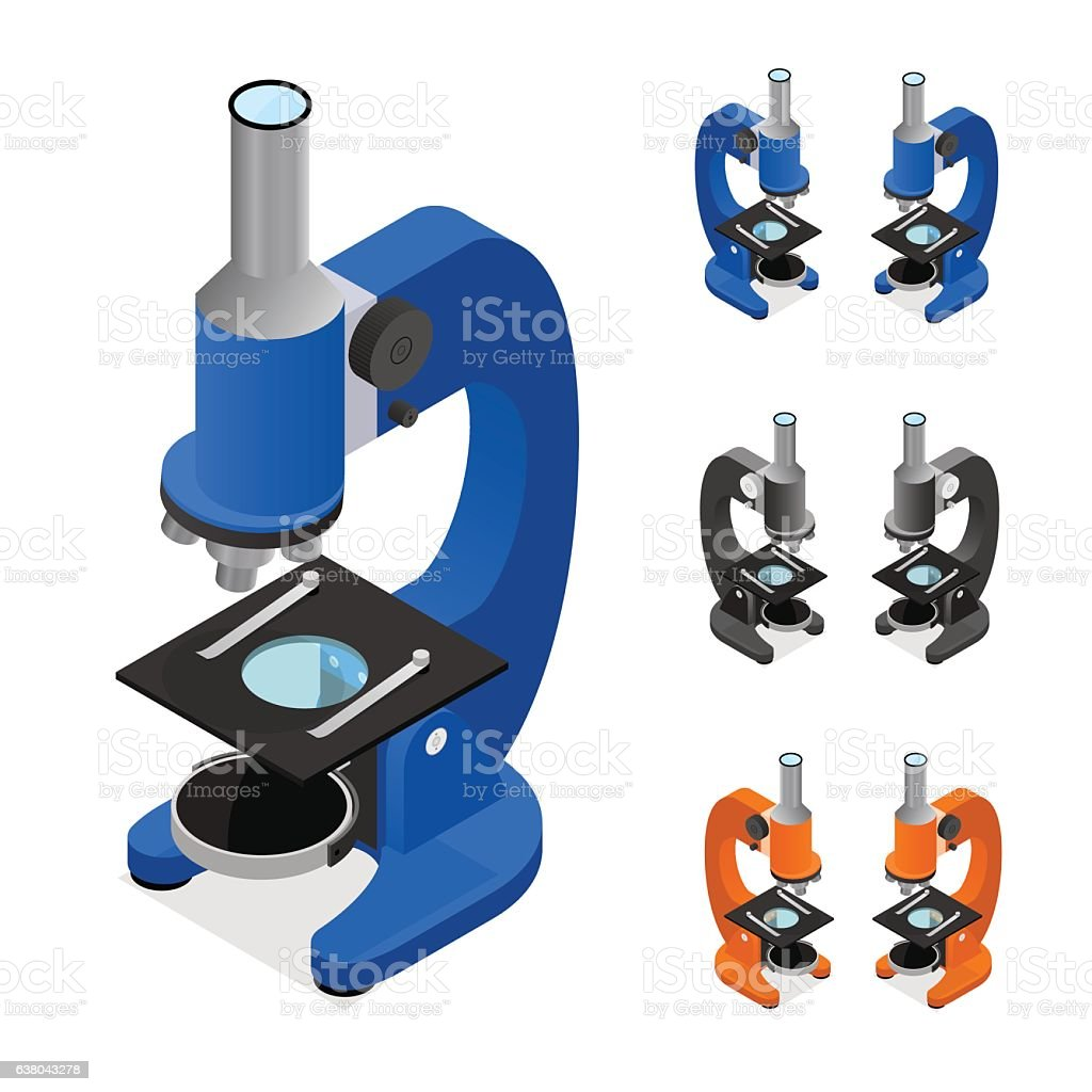 Microscope Set Isometric View. Vector vector art illustration