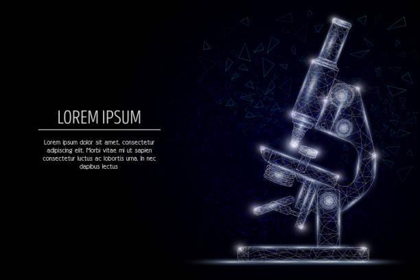 bildbanksillustrationer, clip art samt tecknat material och ikoner med mikroskopet vektor geometriska polygonal konst stil design - microscope