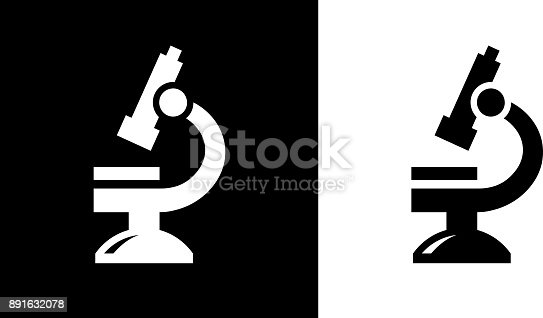 Microscope.This royalty free vector illustration features the main icon on both white and black backgrounds. The image is black and white and had the background rendered with the main icon. The illustration is simple yet very conceptual.