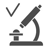 Microscope with checkmark solid icon, coronavirus vaccine testing concept, Approved analysis in microscope sign on white background, lab testing process icon in glyph style. Vector graphic