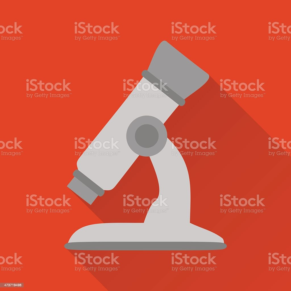 Microscope,modern flat icon with long shadow vector art illustration