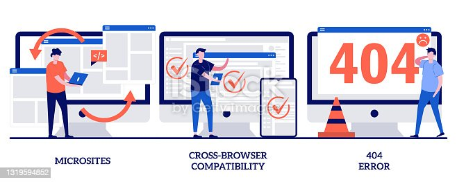 istock Microsite interface, cross-browser compatibility, 404 error concept with tiny people. Web development vector illustration set. Programming, company page, page not found, website user metaphor. 1319594852