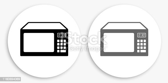 istock Microwave Black and White Round Icon 1160694069