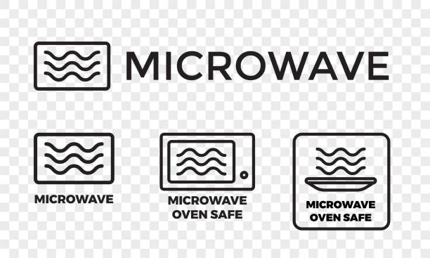 Microwave oven safe icon templates set. Vector isolated line symbols or labels for plastic dish food cookware suitable for safe warming and cooking in microwave oven isolated on white background Microwave oven safe icon templates set. Vector isolated line symbols or labels for plastic dish food cookware suitable for safe warming and cooking in microwave oven isolated on white background oven stock illustrations