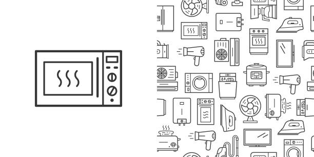 Microwave oven sign and vector seamless pattern with household appliances line style icons Microwave oven sign and vector seamless pattern with household appliances. Line style icons isolated on white background dishwashing machine stock illustrations