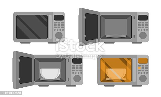 istock Microwave oven. Vector set  illustration. Power off, open, with dish, power on. An automatic appliances used for cooking 1164990535