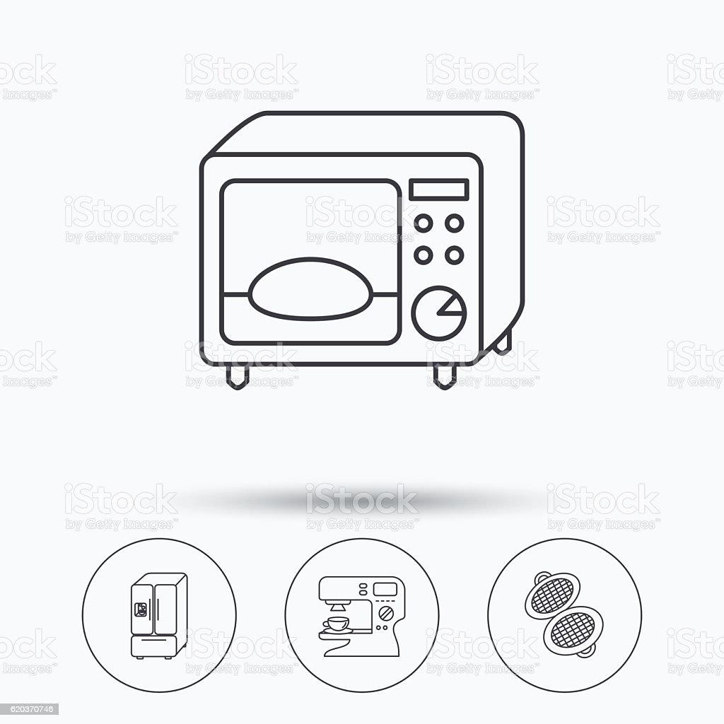 Kuchenka mikrofalowa, waflowa-żelazowe i amerykańskie lodówka ikony. kuchenka mikrofalowa wafloważelazowe i amerykańskie lodówka ikony - stockowe grafiki wektorowe i więcej obrazów aplikacja mobilna royalty-free