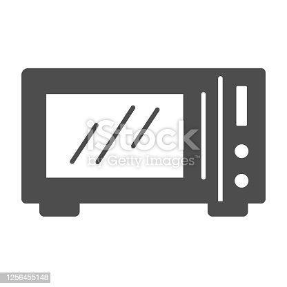 istock Microwave solid icon, Kitchen equipment concept, Microwave oven sign on white background, Kitchen electric stove icon in glyph style for mobile concept and web design. Vector graphics. 1256455148