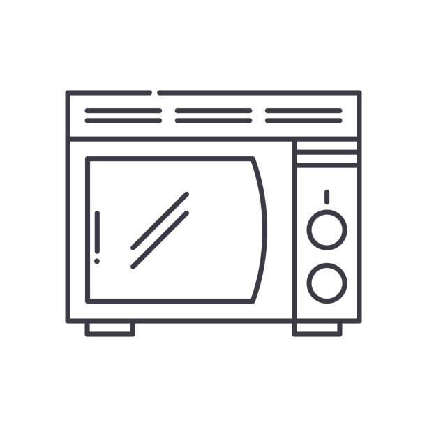 Microwave stove icon, linear isolated illustration, thin line vector, web design sign, outline concept symbol with editable stroke on white background. Microwave stove icon, thin line isolated illustration, linear vector web design sign, outline concept symbol with editable stroke on white background. dishwashing machine stock illustrations