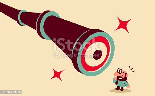 istock Mid adult businessman is being watched by a big hand-held telescope with eyes 1275035675