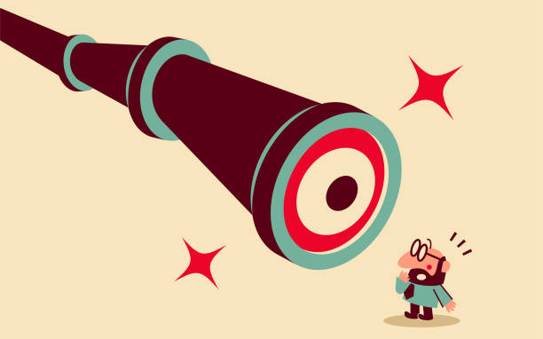 Mid adult businessman is being watched by a big hand-held telescope with eyes vector art illustration