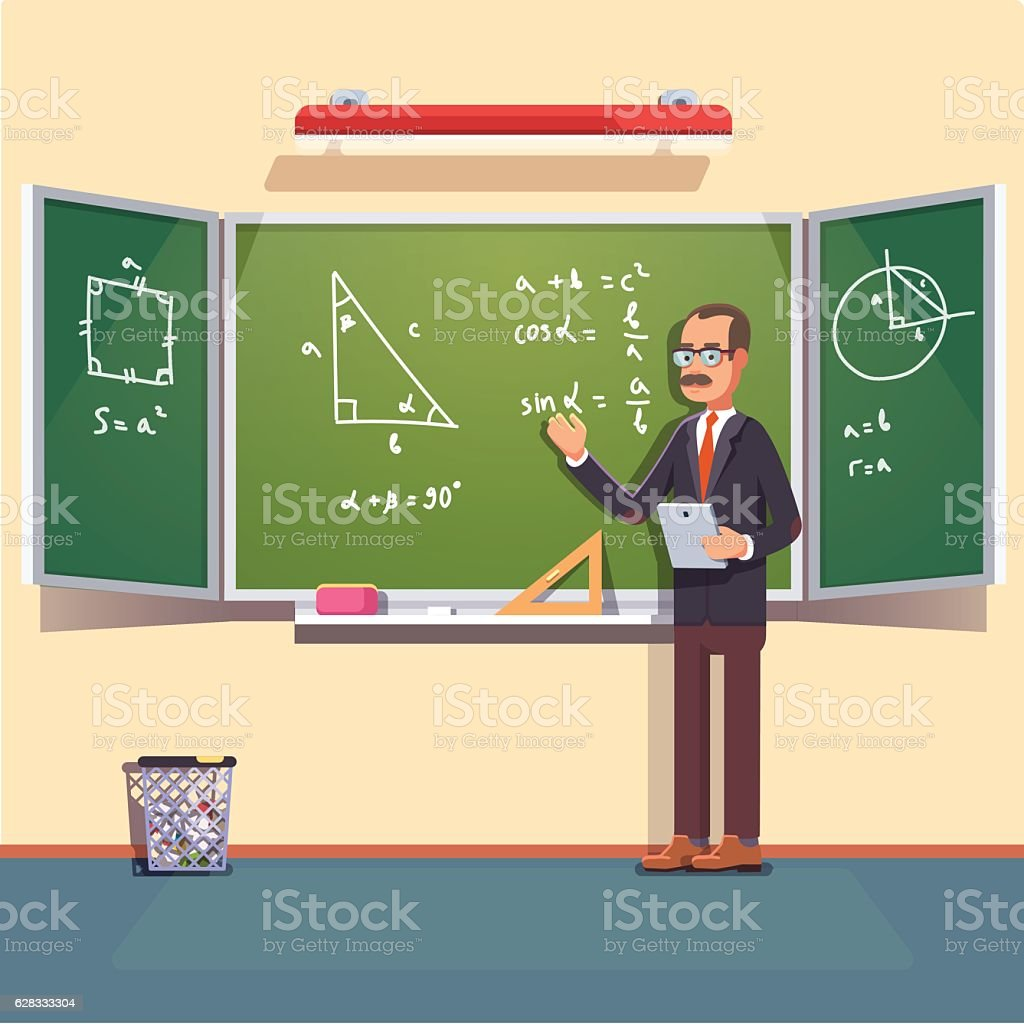 Mid age teacher  giving a trigonometry lecture ベクターアートイラスト