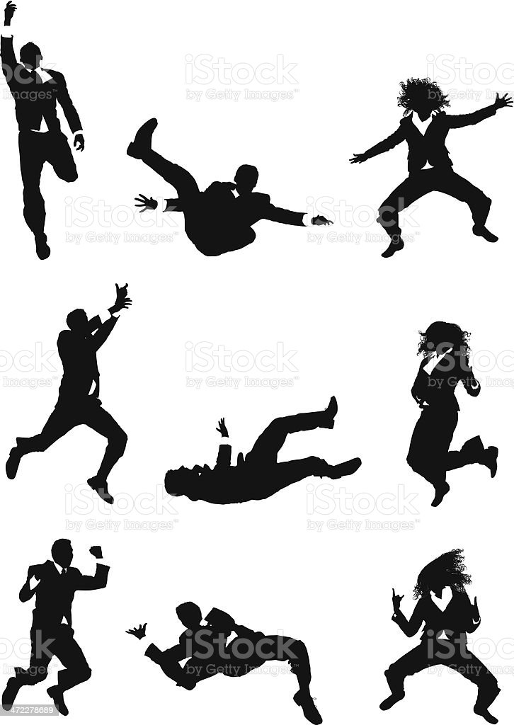 Mid air action businesspeople jumping royalty-free stock vector art