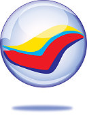Vector illustration of a shiny colorful glass marbles with a shadow below it.