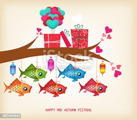 Mid Autumn Festival Day Greeting Card With Gifts And Lanterns Stock Vector Art & More Images of Autumn 682454844