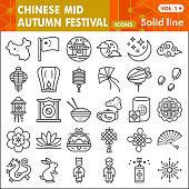 Mid autumn festival line icon set, holiday in China symbols collection or sketches. Moon festival linear style signs for web and app. Vector graphics isolated on white background
