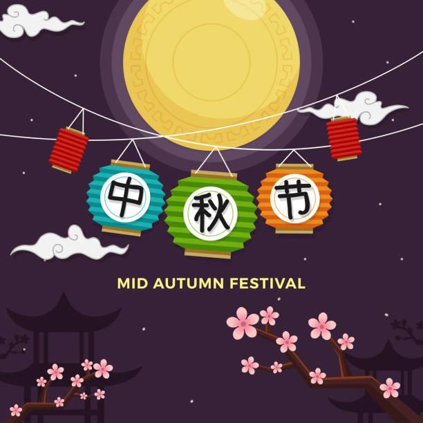 mid-autumn festival-poster-design. chinesische bauernherbst-grußkarte. vollmond mit traditionellen laterne und plum blossom baum hintergrund illustration. chinesische kalligraphie: mid-autumn festival - pflaumenkuchen stock-grafiken, -clipart, -cartoons und -symbole