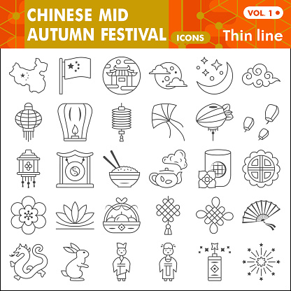 Mid autumn festival thin line icon set, holiday in China symbols collection or sketches. Moon festival linear style signs for web and app. Vector graphics isolated on white background.