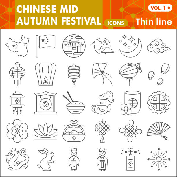 Mid autumn festival thin line icon set, holiday in China symbols collection or sketches. Moon festival linear style signs for web and app. Vector graphics isolated on white background. Mid autumn festival thin line icon set, holiday in China symbols collection or sketches. Moon festival linear style signs for web and app. Vector graphics isolated on white background autumn symbols stock illustrations