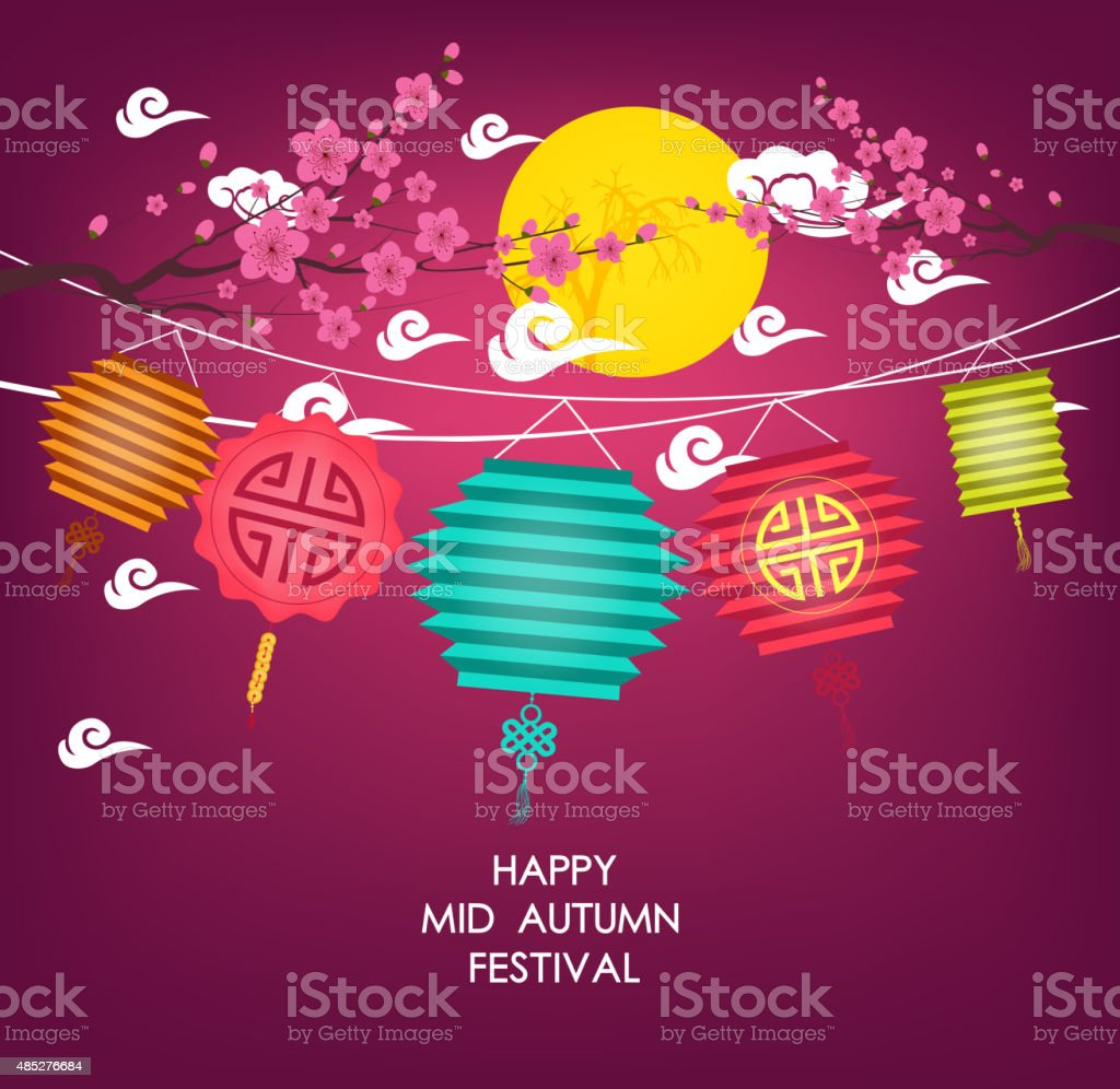 Mid Autumn Festival vector background with lantern and plum blossom vector art illustration