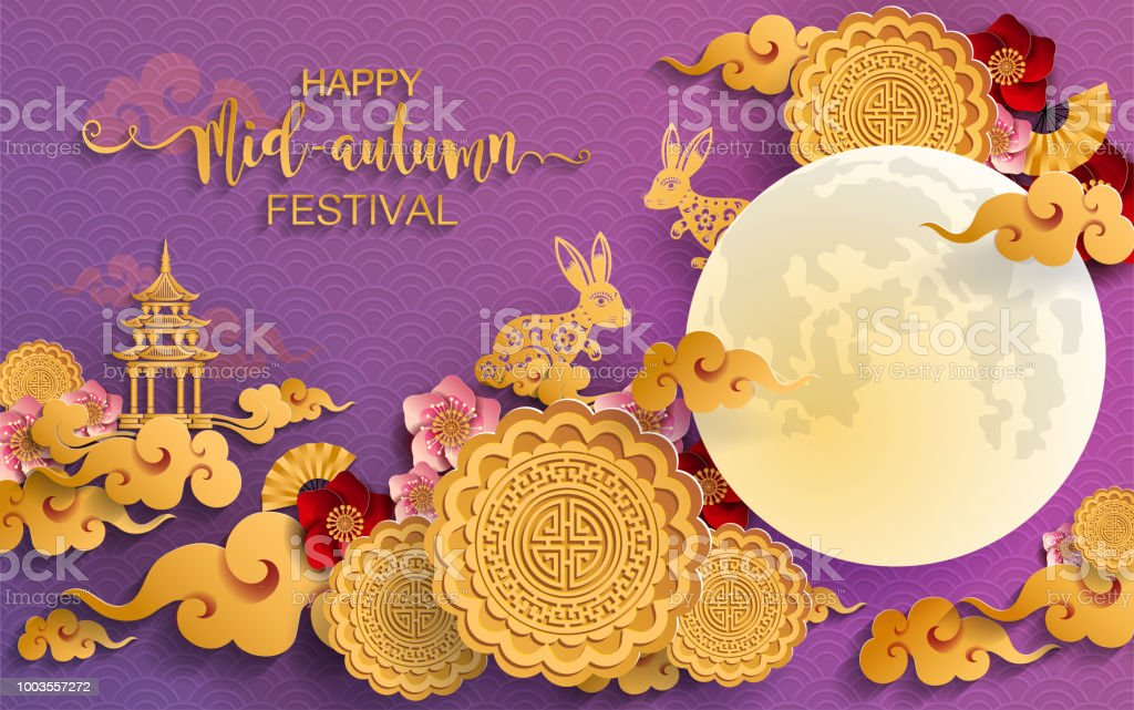 Mid Autumn Festival With Paper Cut Art And Craft Style On Color
