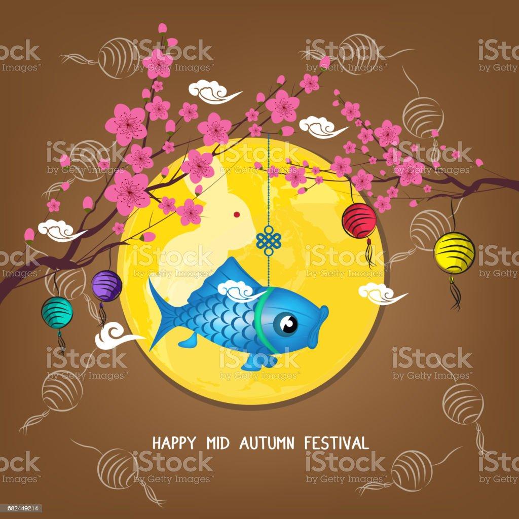 Medio fondo de flor de otoño el Festival de faroles. Año nuevo chino ilustración de medio fondo de flor de otoño el festival de faroles año nuevo chino y más banco de imágenes de adulto de mediana edad libre de derechos