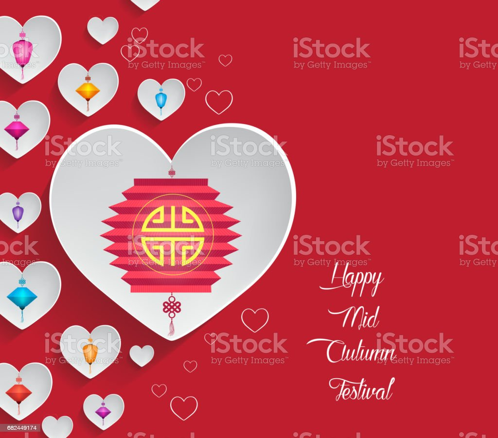 Mid Autumn Lantern Festival hearts background royalty-free mid autumn lantern festival hearts background stok vektör sanatı & antik'nin daha fazla görseli