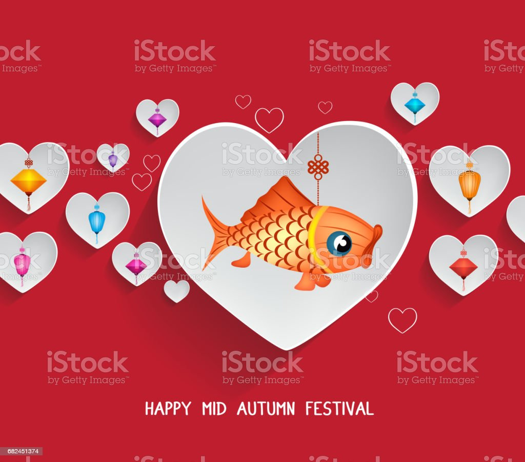 Mid Autumn Lantern Festival hearts background with carp royalty-free mid autumn lantern festival hearts background with carp stock vector art & more images of ancient