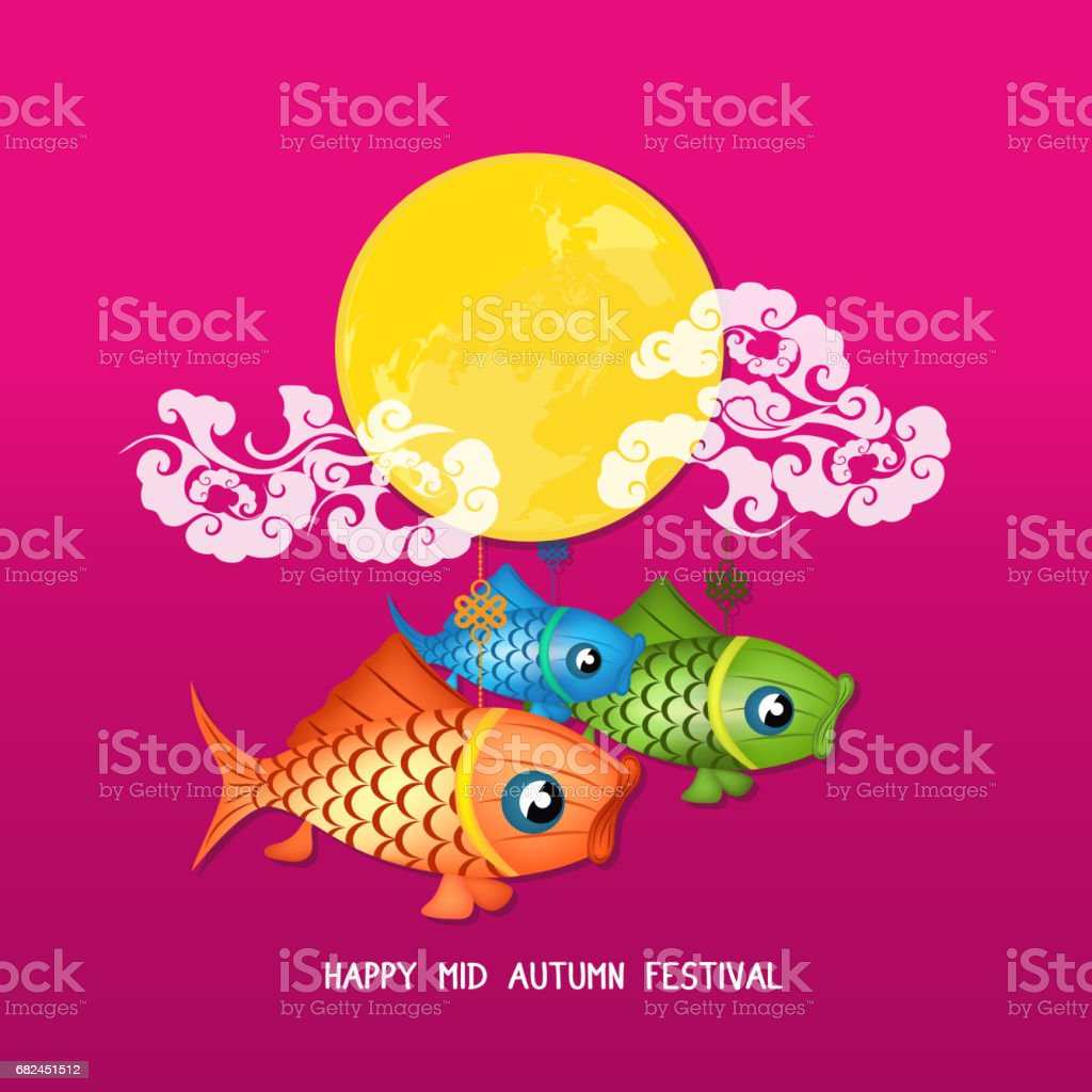 Mid Autumn Lantern Festival vector background with moon carp royalty-free mid autumn lantern festival vector background with moon carp stok vektör sanatı & antik'nin daha fazla görseli