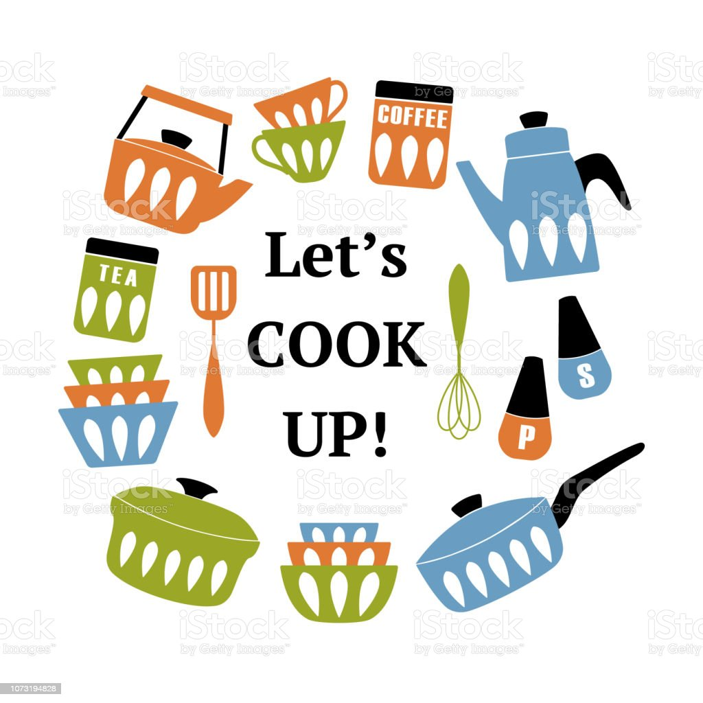 Mitte Jahrhundert Moderne Küche Poster. Sammlung Von Koch Utensilien Mit  Satz Mal Cook Up