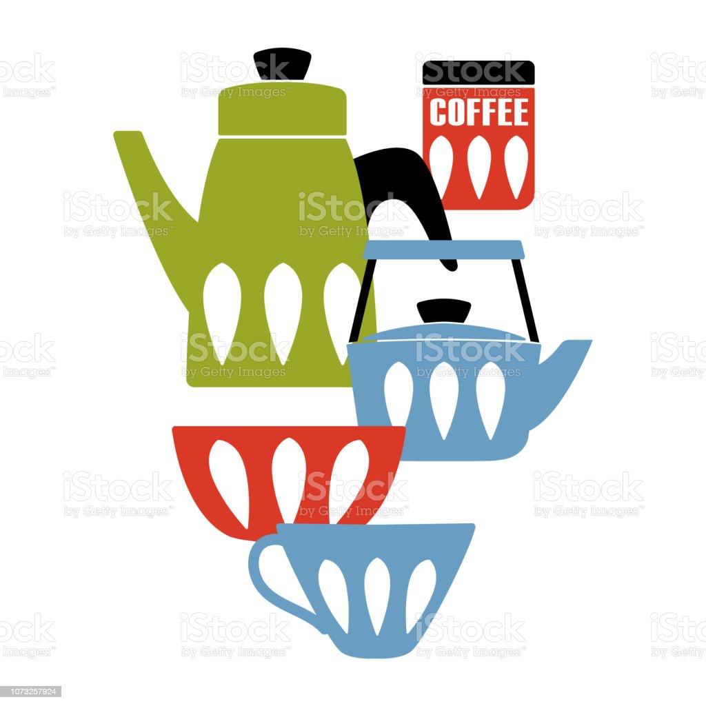 Mitte Jahrhundert Moderne Küche Poster. Emailwaren Teekanne Und Keramische  Utensil. Vektor Illustration.