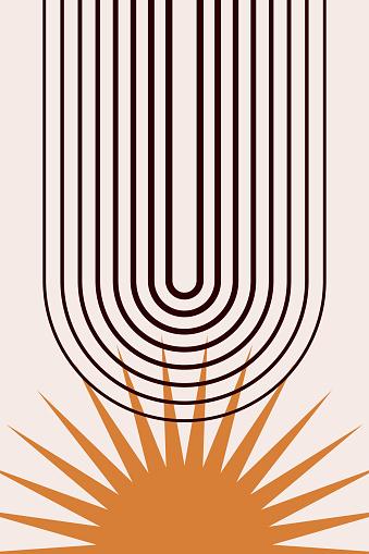 Mid century modern print. Boho graphic design for t shirt print, dorm wall decor, magazin cover, shop flyer page etc
