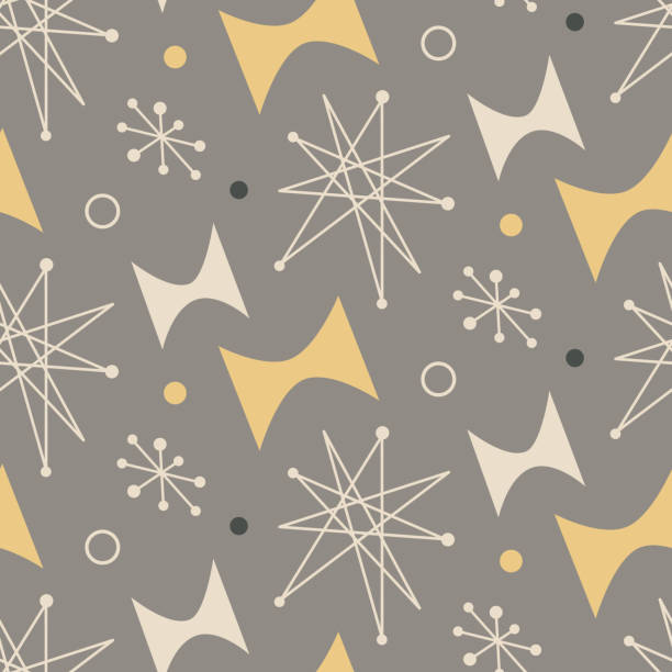 mid century modern seamless pattern. 1950s vintage style atomic science background, retro vector illustration. - 1950s style stock illustrations, clip art, cartoons, & icons