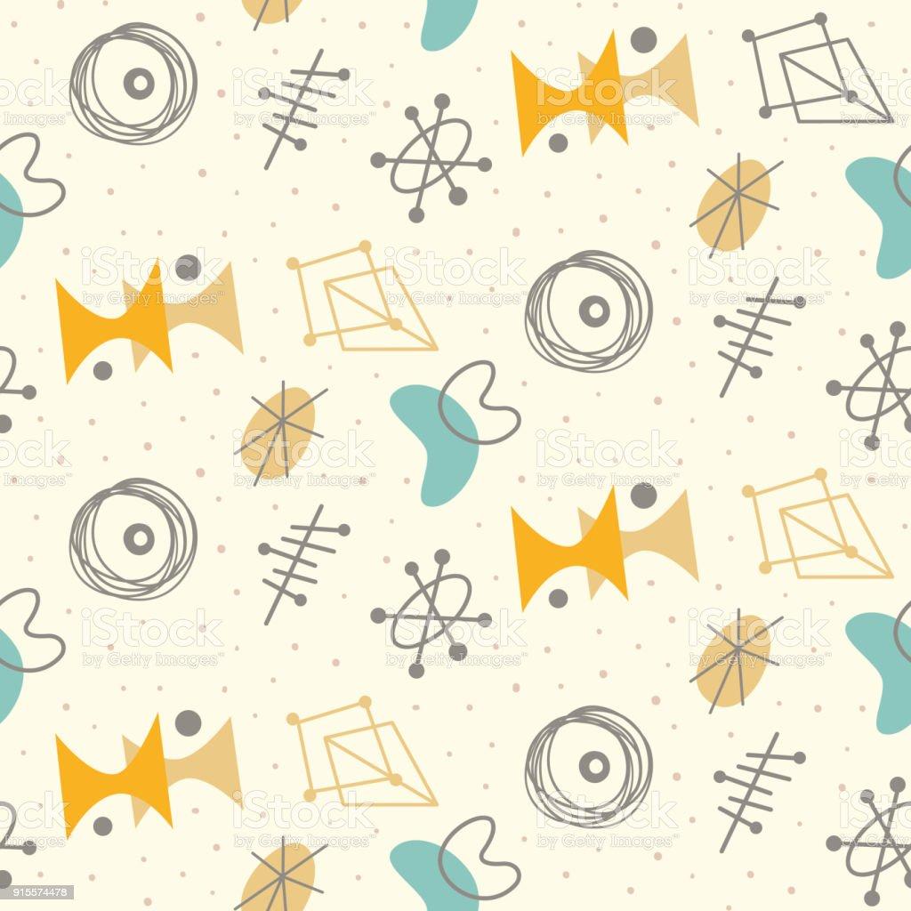 Mid century modern seamless pattern vector art illustration