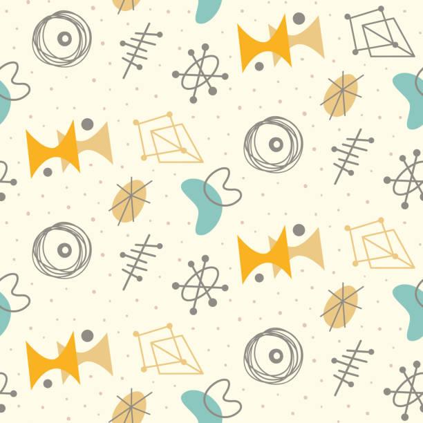 illustrazioni stock, clip art, cartoni animati e icone di tendenza di mid century modern seamless pattern - xx° secolo